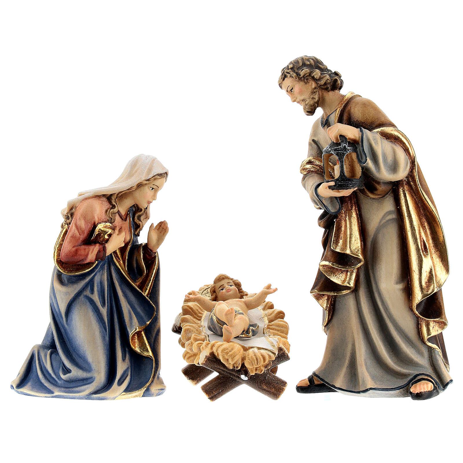 Sainte Famille bois peint crèche Kostner 12 cm