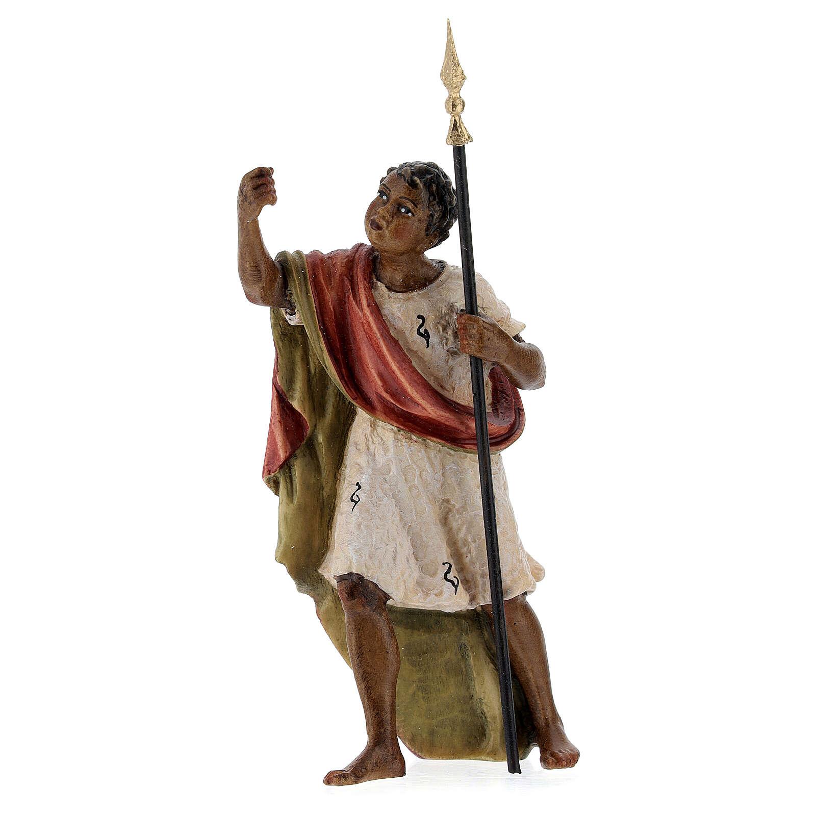 Chamelier bois peint crèche Kostner 12 cm
