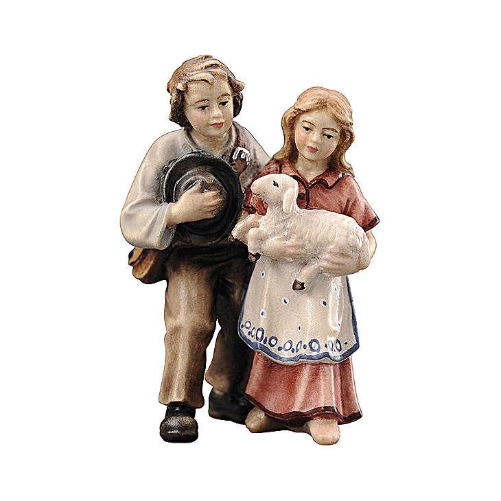 Couple d'enfants bois peint crèche Kostner 12 cm