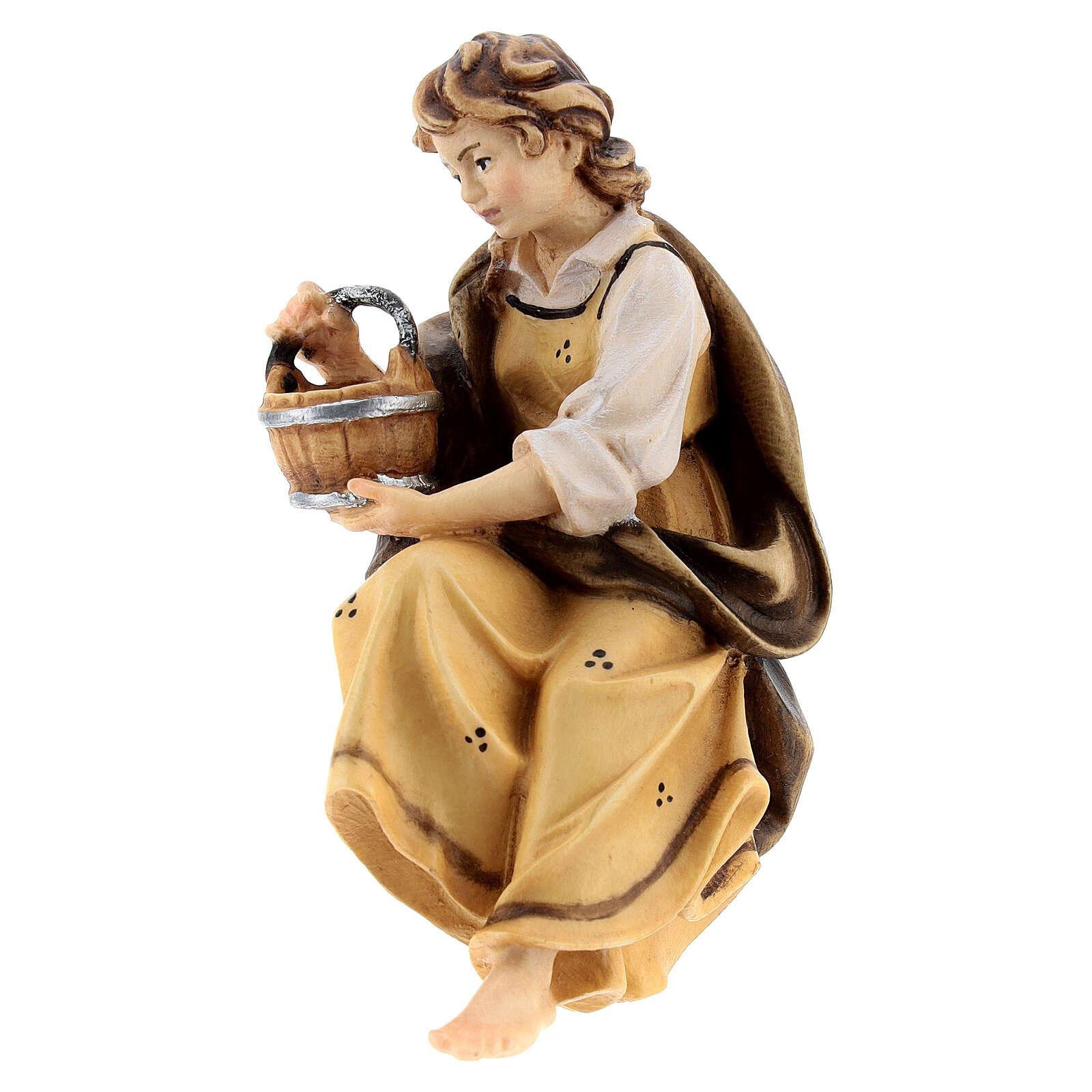 Bergère pour fontaine bois peint crèche Kostner 12 cm