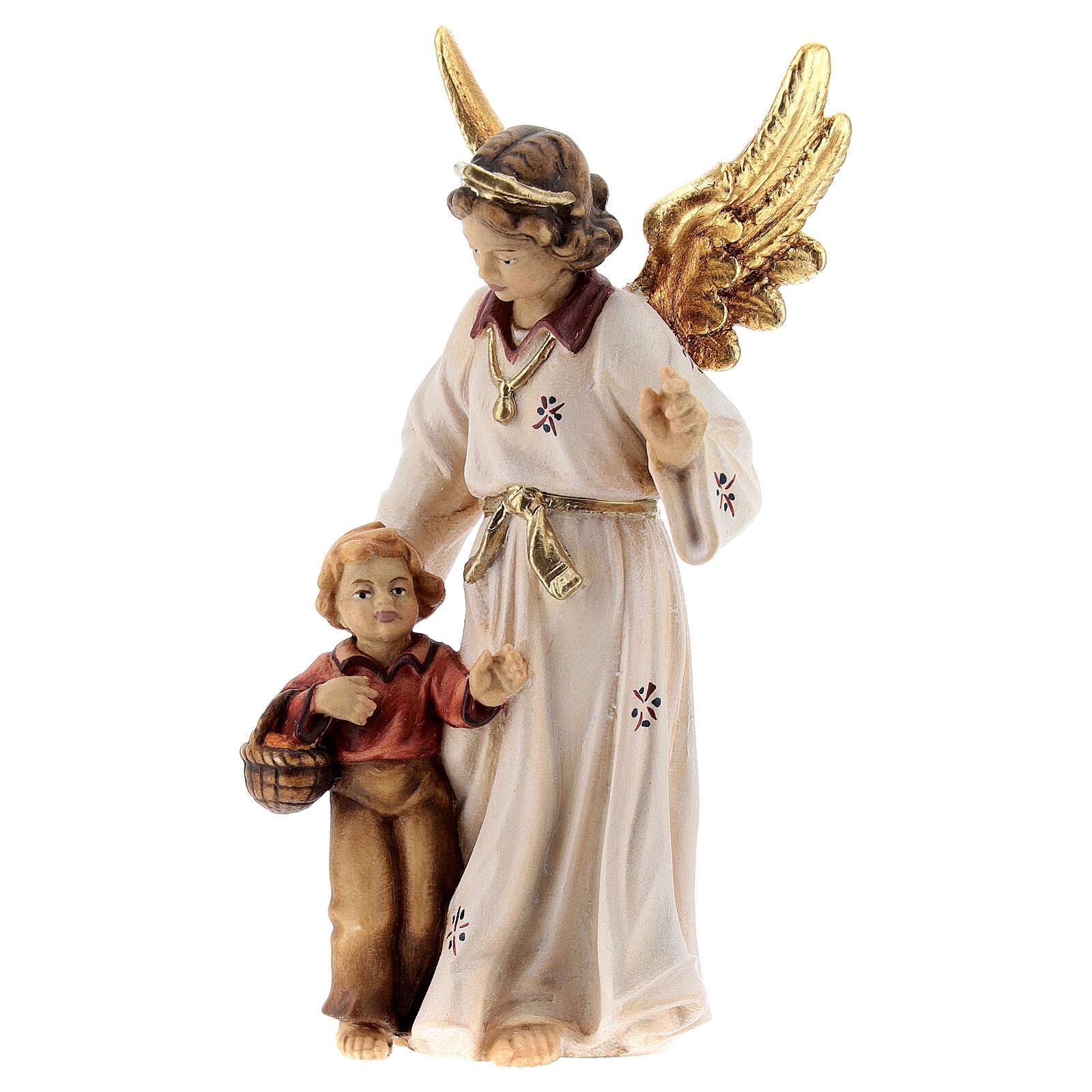 Ange gardien bois peint crèche Kostner 12 cm