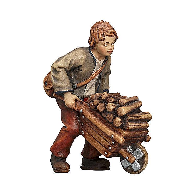 Jeune avec brouette bois peint crèche Kostner 9,5 cm
