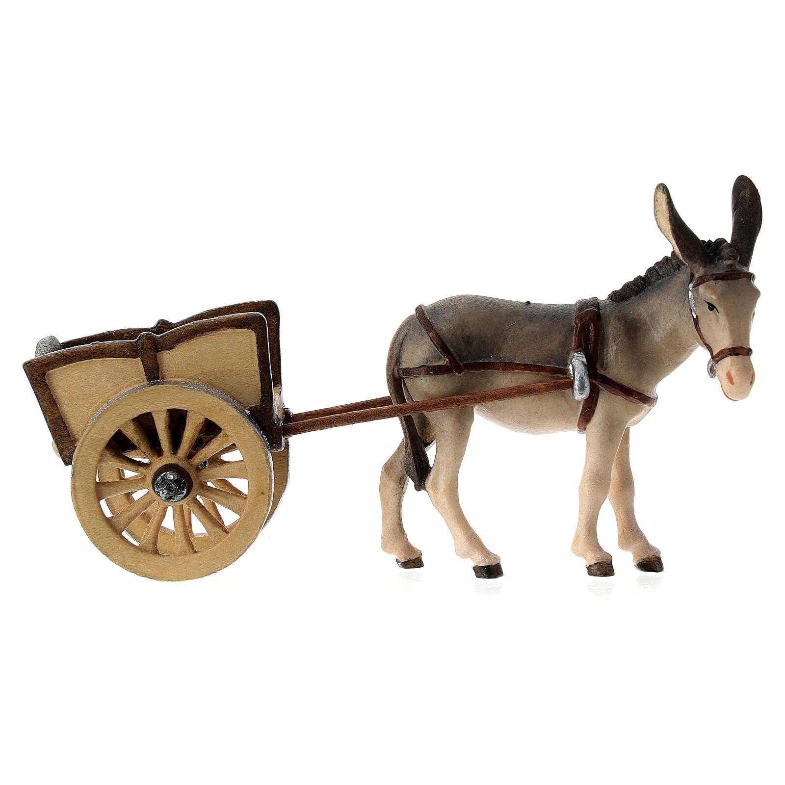 Âne avec charrette santon bois peint crèche Kostner 9,5 cm