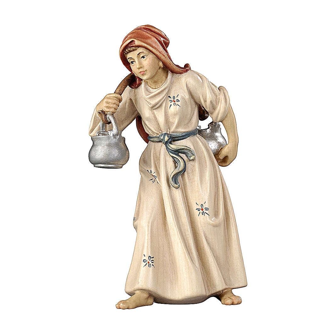 Femme avec cruche en bois peint crèche Rainell 11 cm Val Gardena