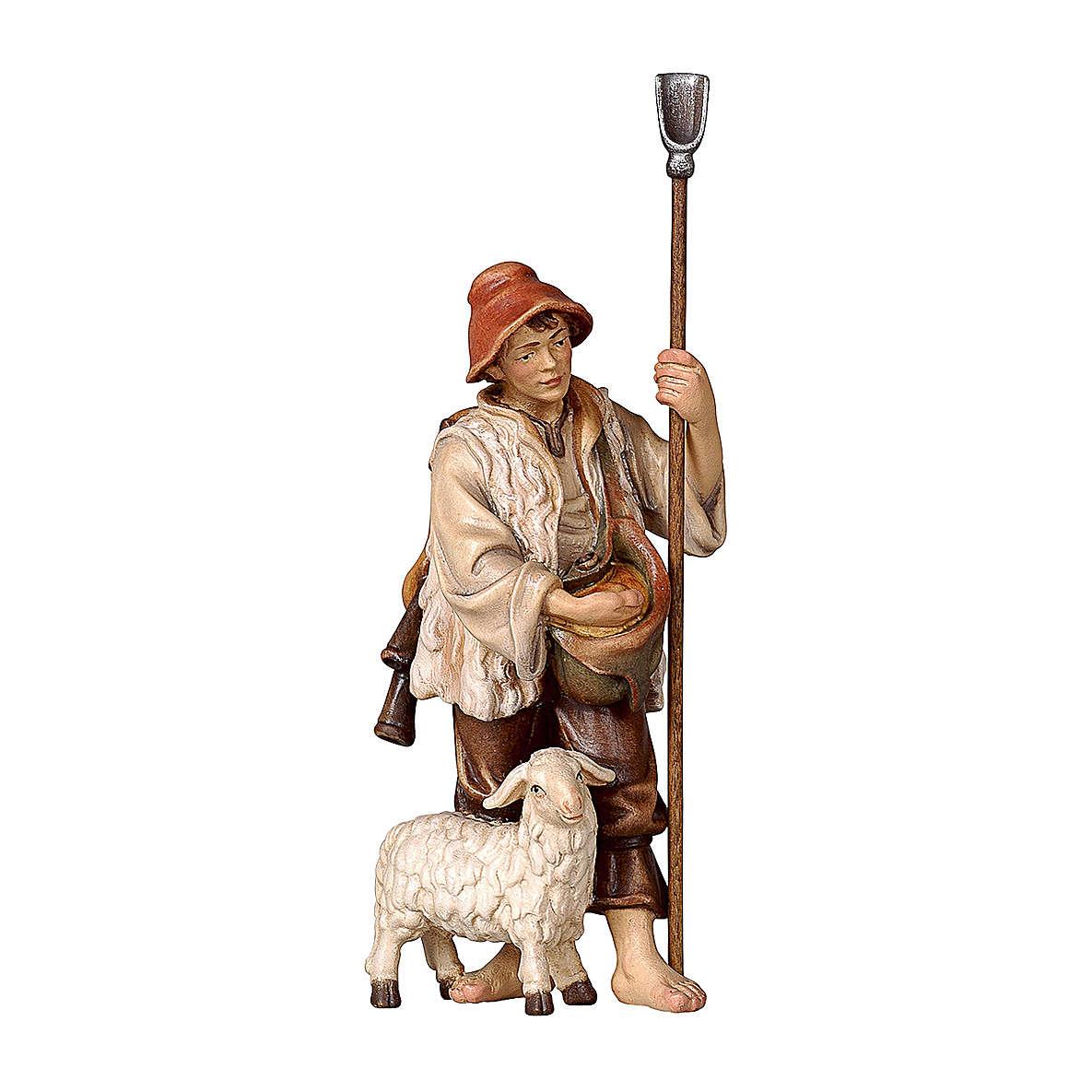 Berger de moutons en bois peint crèche Rainell 9 cm Val Gardena