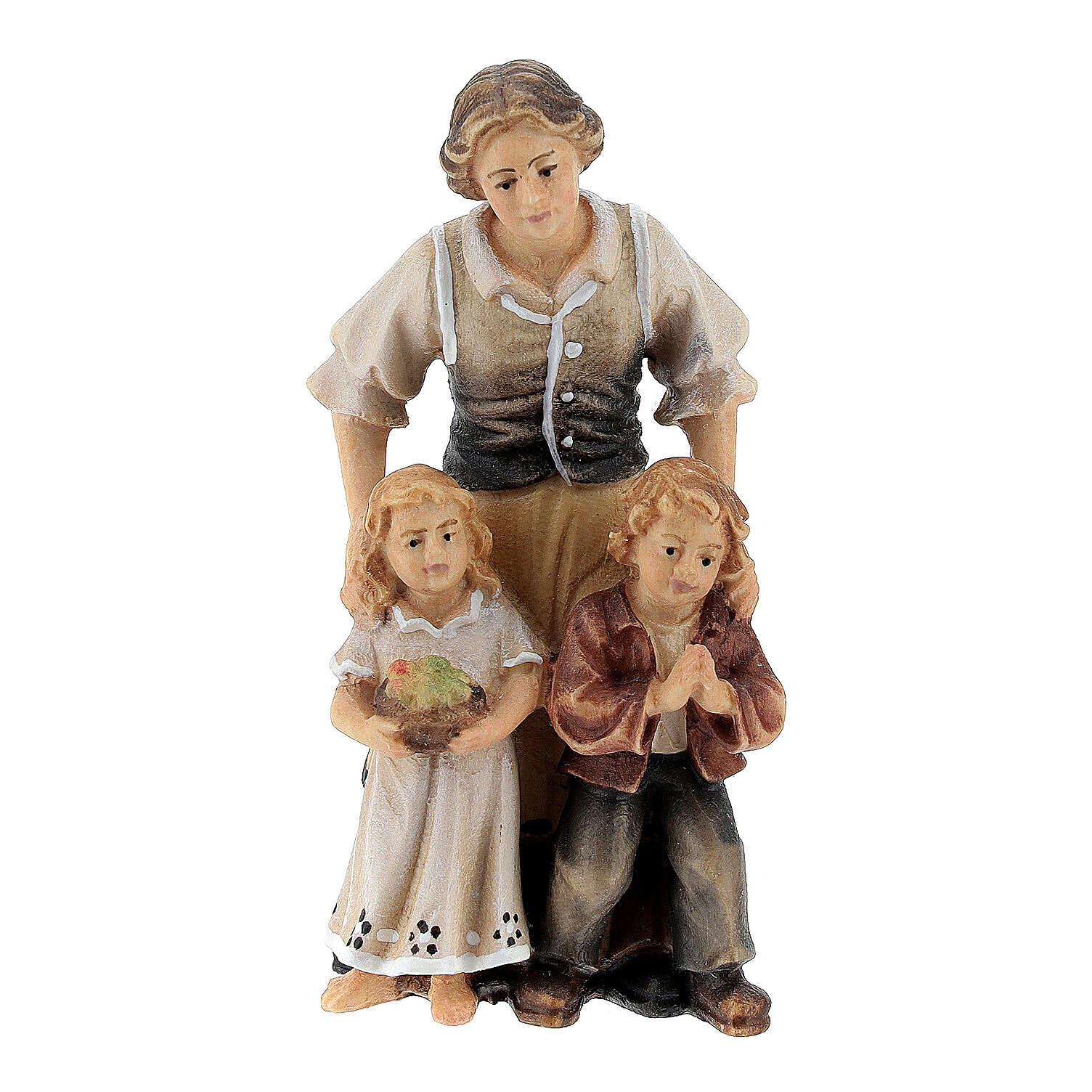 Bergère avec enfants bois peint Val Gardena crèche Rainell 9 cm