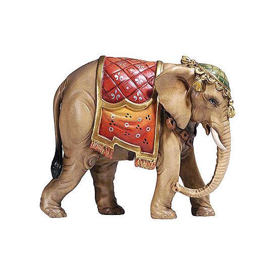 Éléphant bois peint crèche Rainell 9 cm Val Gardena