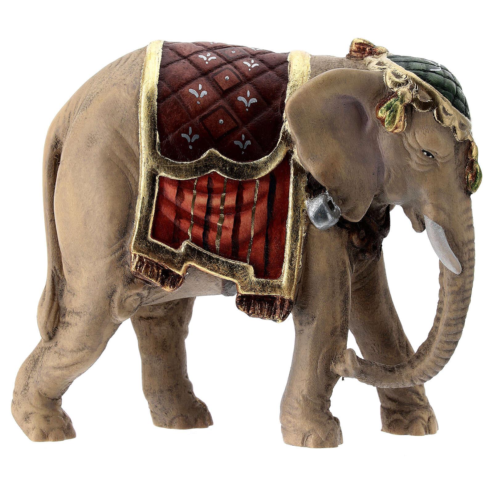 Éléphant bois peint crèche Rainell 11 cm Val Gardena