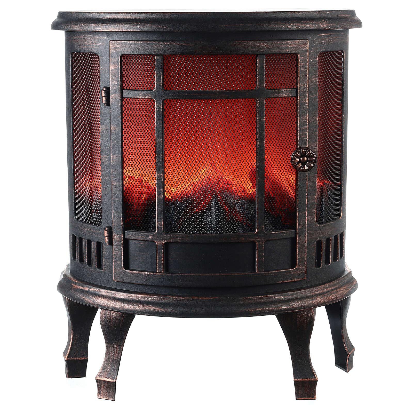 Ancien poêle à bois effet flamme LED 55x45x25 cm
