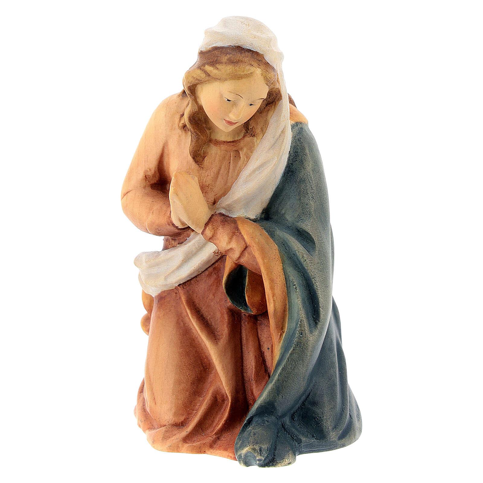 Marie crèche Raphaël 15 cm bois peint Val Gardena