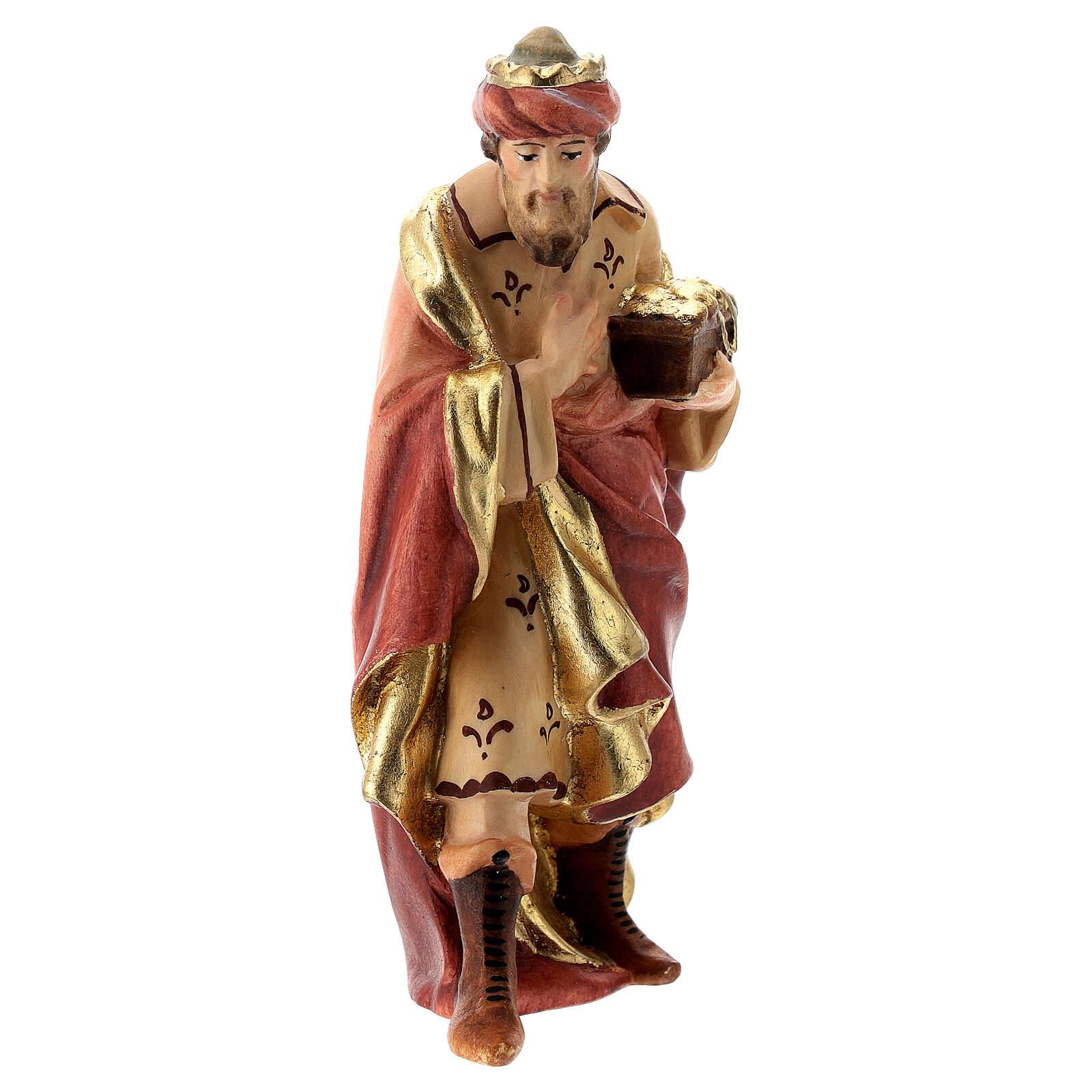 Roi Mage or pour crèche Raphaël 12 cm bois Val Gardena