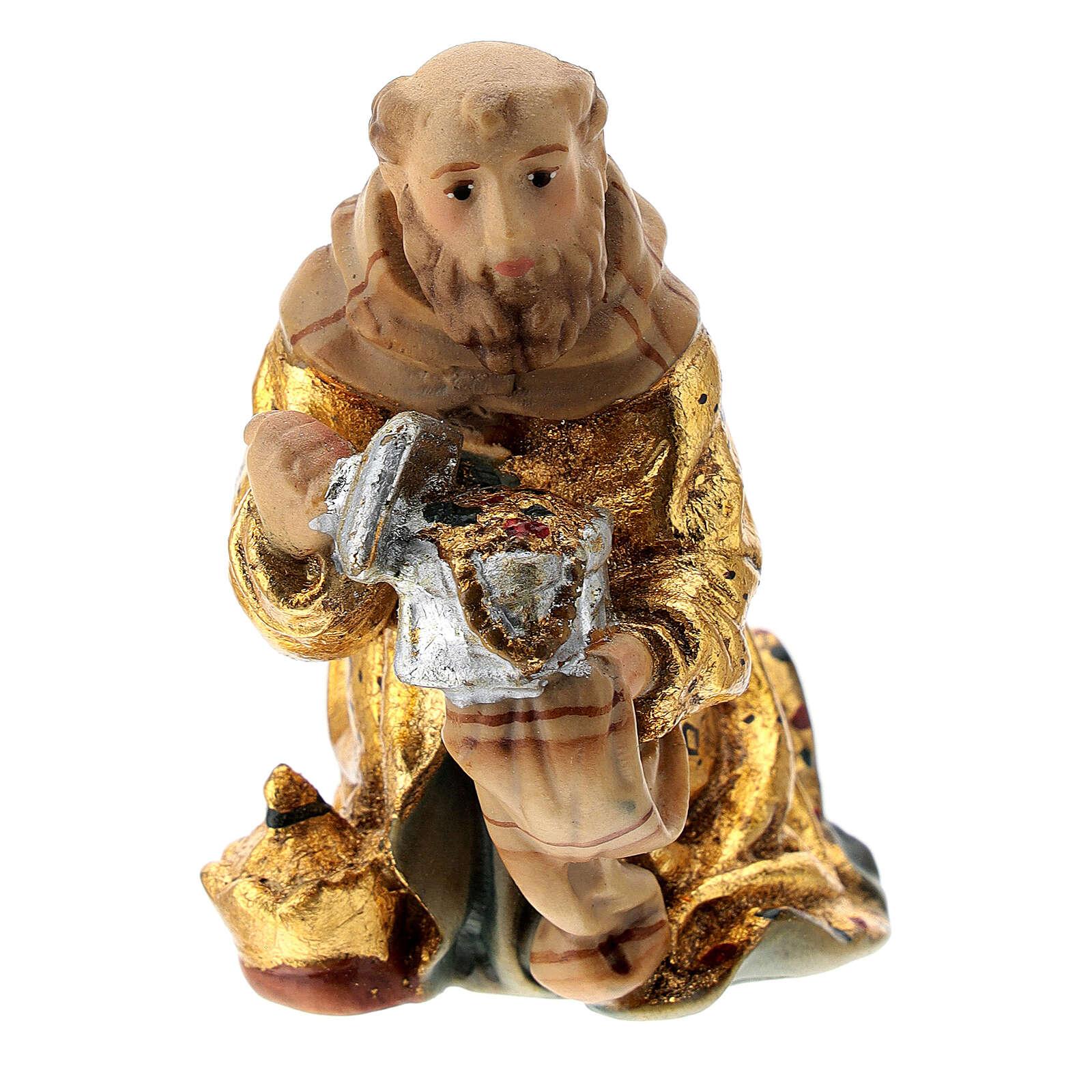 Roi Mage à genoux crèche Mathieu Val Gardena 12 cm bois