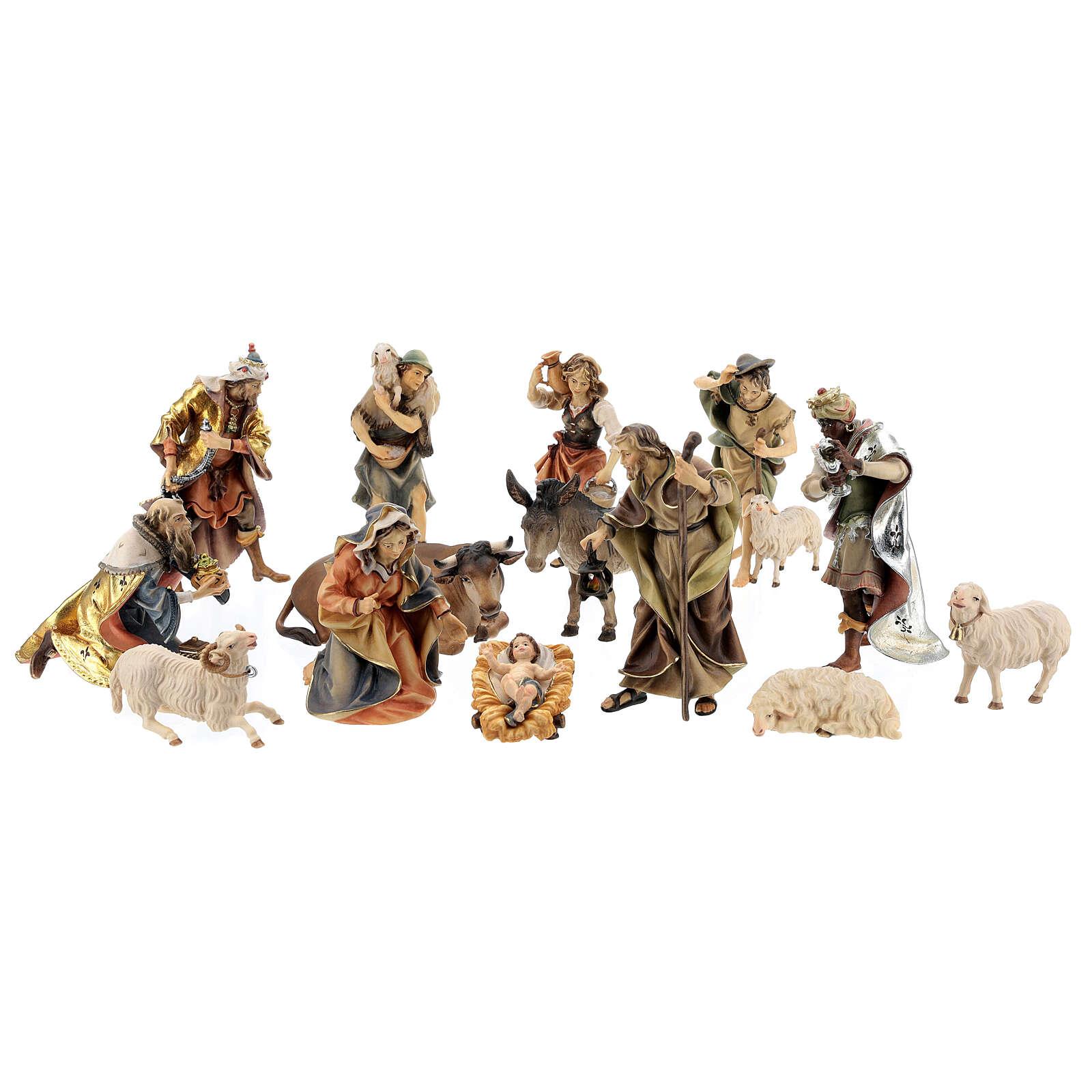 Crèche Original Ulrich set 14 figurines 12 cm bois Val Gardena