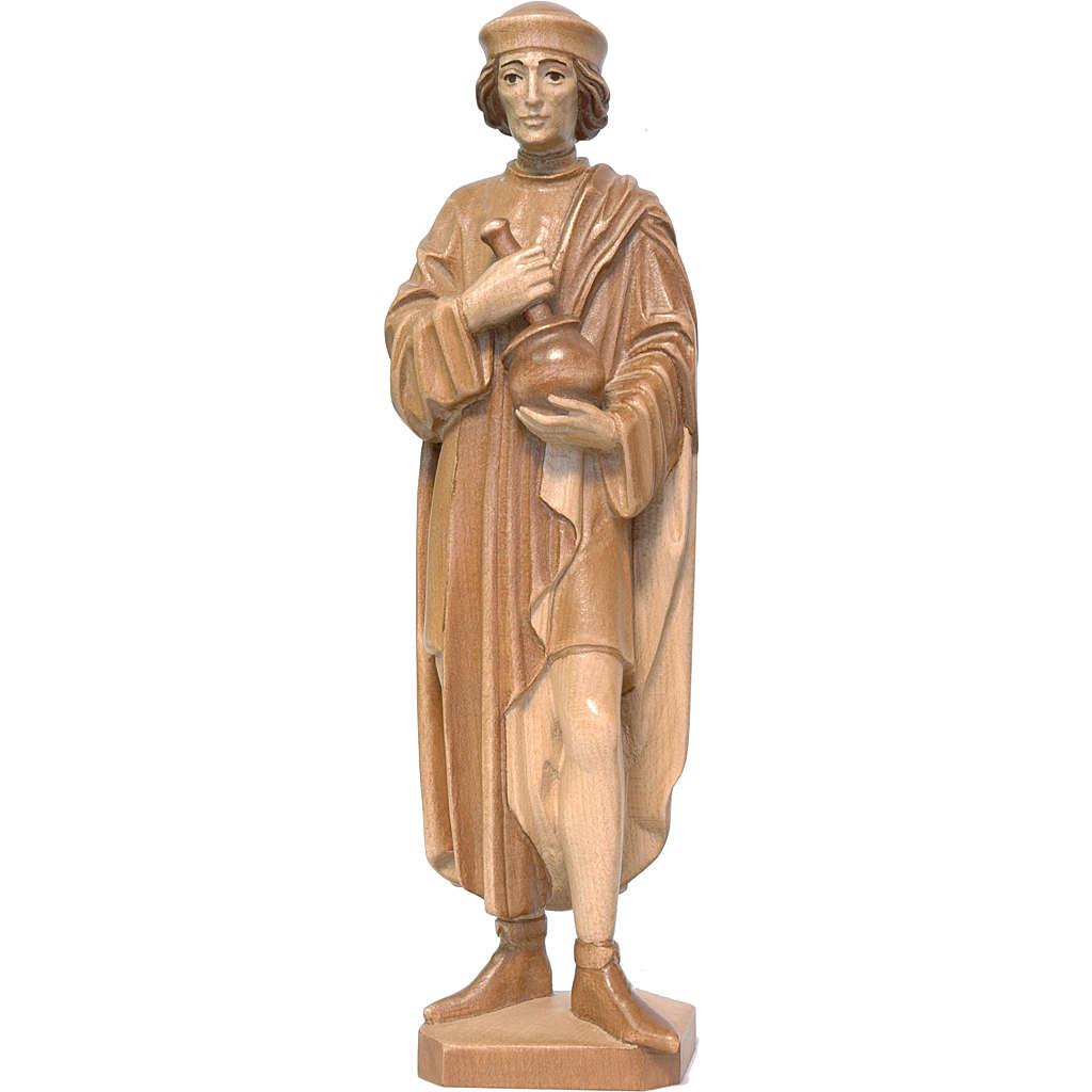 Saint Damien avec mortier 25 cm bois patiné multinuance Valgarde