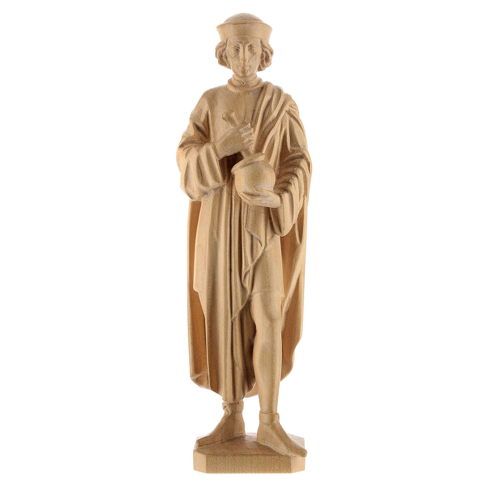 Saint Damien avec mortier 25 cm bois naturel ciré Valgardena