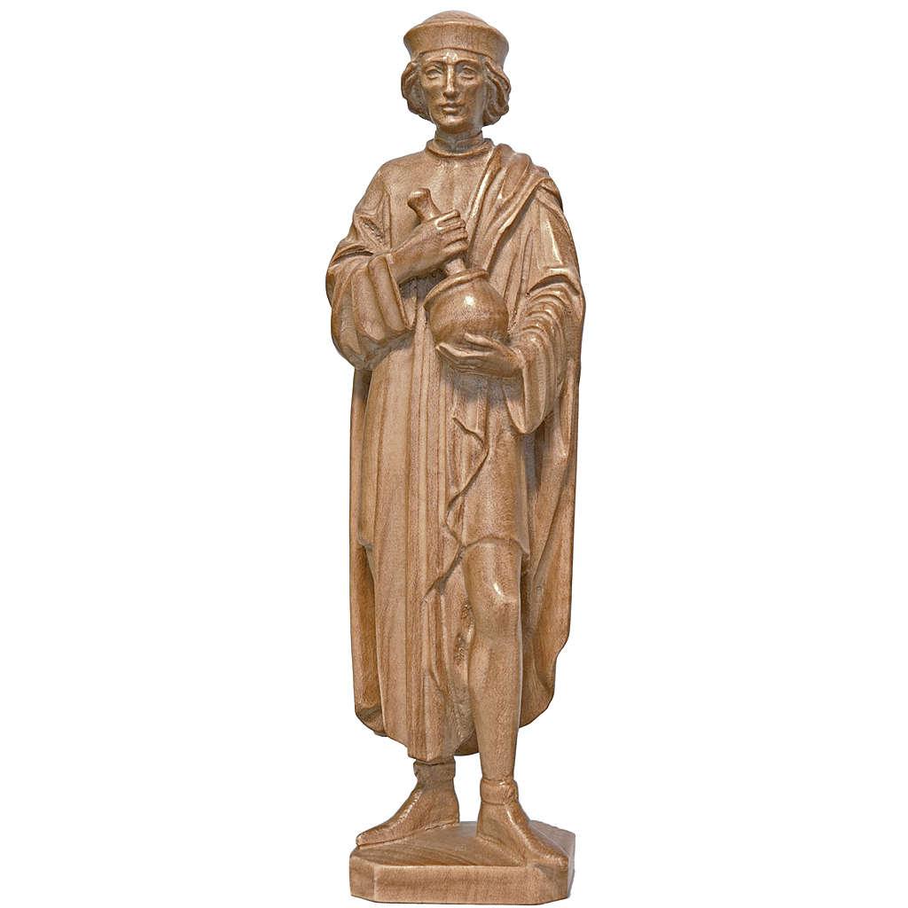 Saint Damien avec mortier 25 cm bois patiné Valgardena