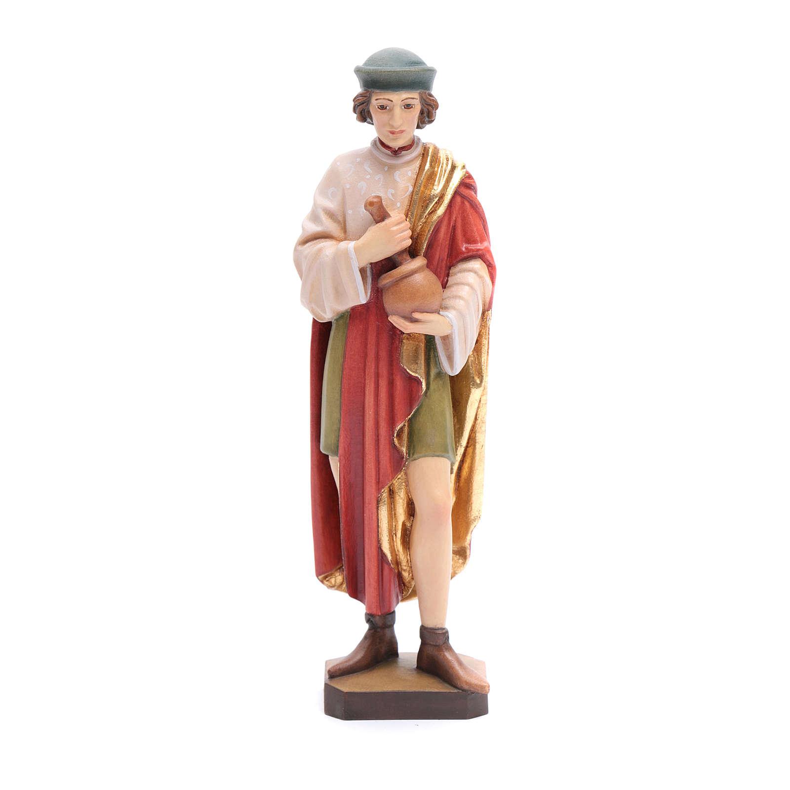 Saint Damien avec mortier 25 cm bois peint Valgardena