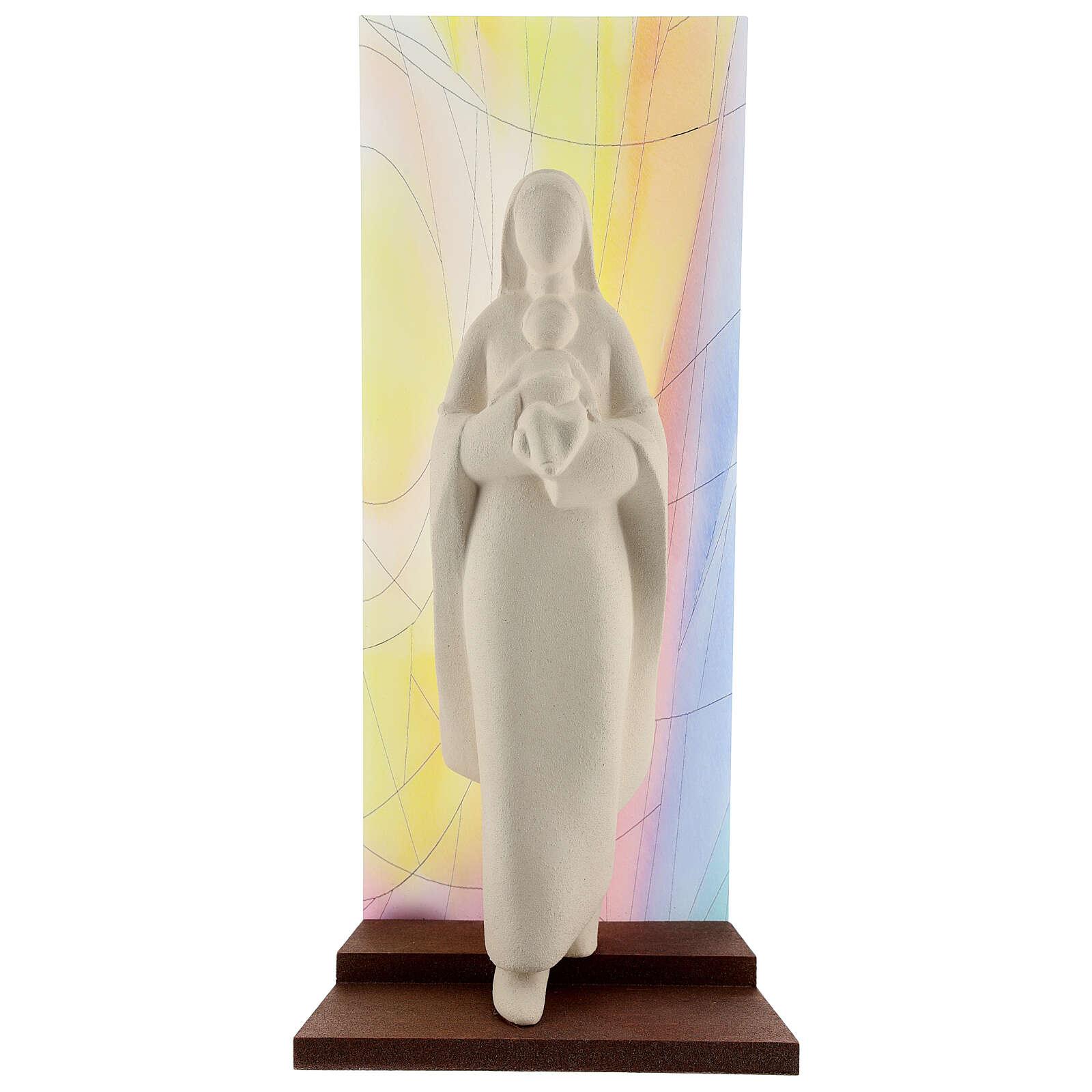Vierge à l'Enfant argile fond coloré 30 cm