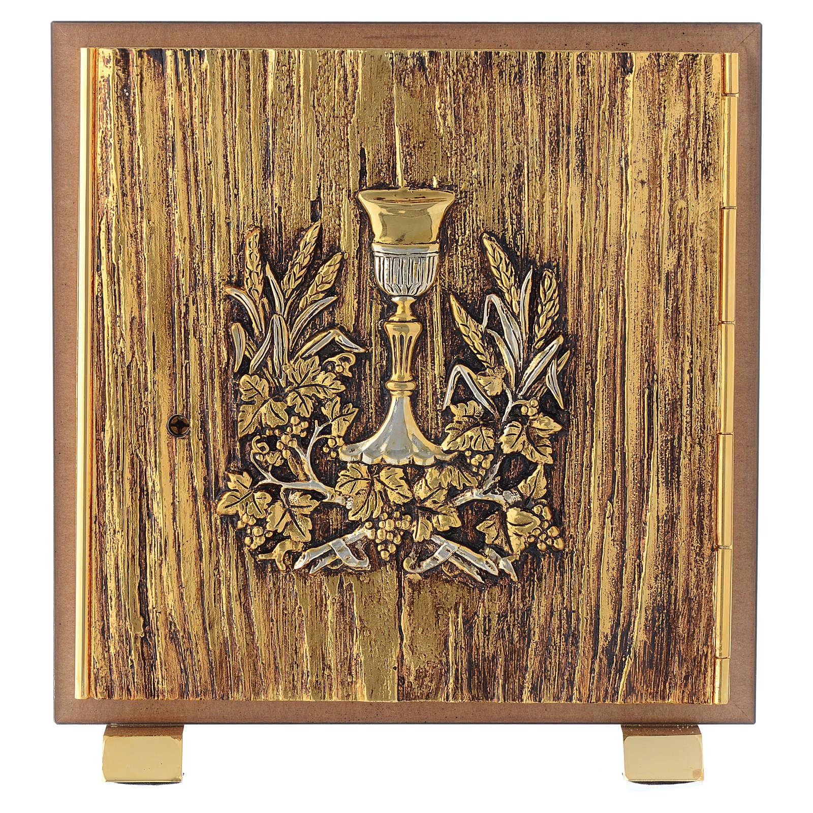 Tabernacle bois imitation ronce moulage laiton IHS