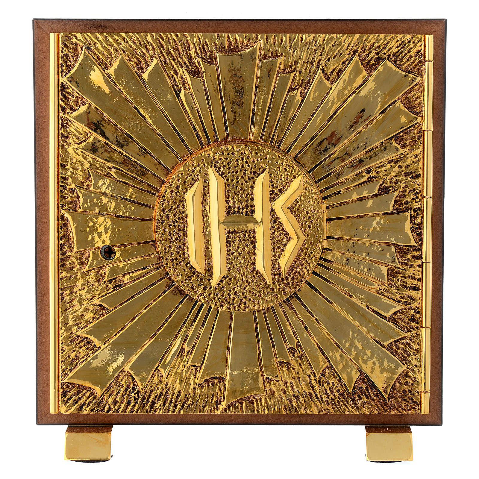 Tabernacle bois imitation marbre moulage laiton Exposition IHS