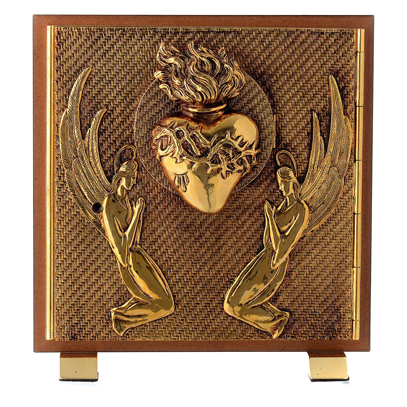 Tabernacle bois imitation ronce moulage laiton Exposition Sacré Coeur