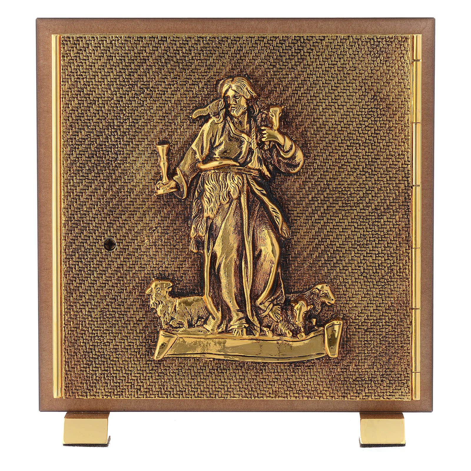 Tabernacle bois imitation ronce moulage laiton Bon Pasteur