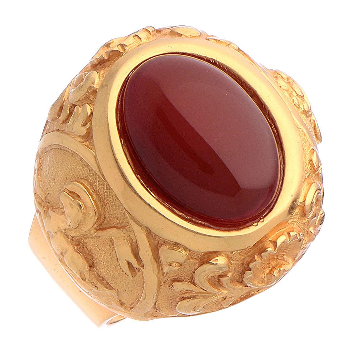 Bague épiscopale avec cornaline naturelle argent 925 doré