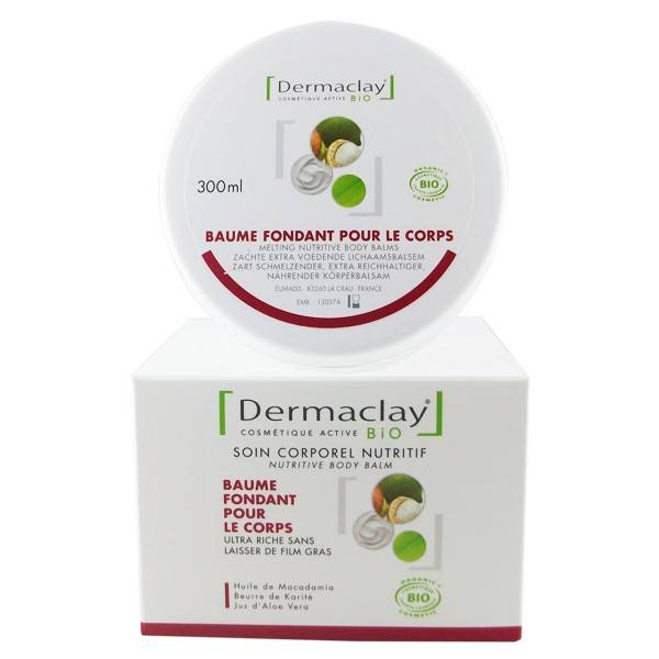 Dermaclay Baume fondant corporel nutritif 300 ml - peaux sèches ou déshydratées