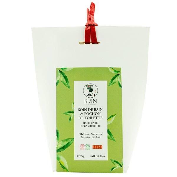Bijin Infusion de bain au Thé vert - Son de Riz 4x25 gr - Soin Hydratant