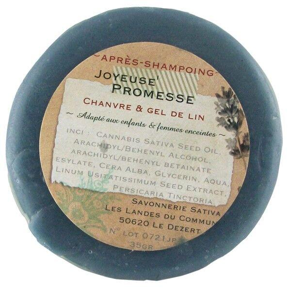 Savonnerie Sativa Après-shampoing solide démêlant 35 gr - Brillance et Douceur
