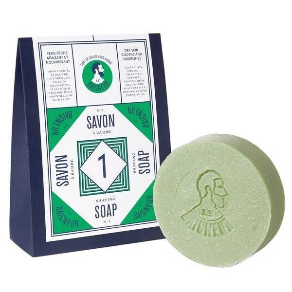 Le Baigneur Savon à Barbe n°1 - Aloe Vera et Argile verte (Peau sèche)