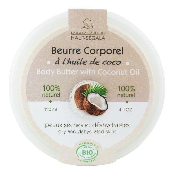 Laboratoire du Haut Ségala Beurre corporel Huile de coco 120 ml - Peaux sèches et déshydratées
