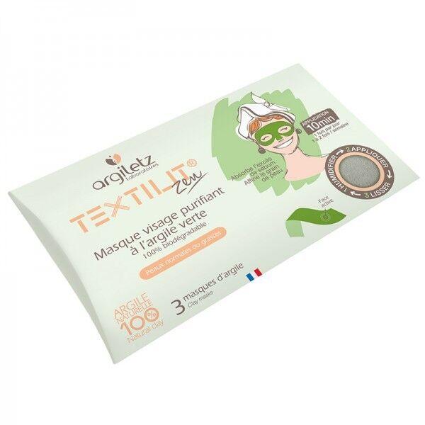 Argiletz Lot de 3 masques visage purifiant à l'Argile Verte - Peaux normales ou grasses