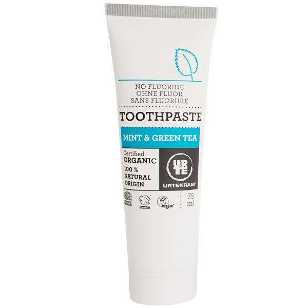 Urtekram Dentifrice à la Menthe et au Thé Vert 75 ml - Sans Fluorure