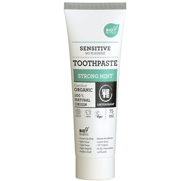 Urtekram Dentifrice à la Menthe Forte Sans Fluorure 75ml - SensitiveBio9®
