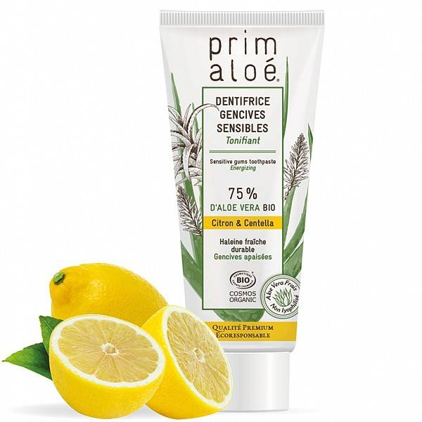 Prim aloé Dentifrice Bio Citron Gencives Sensibles 75 ml – 75% Aloe Vera