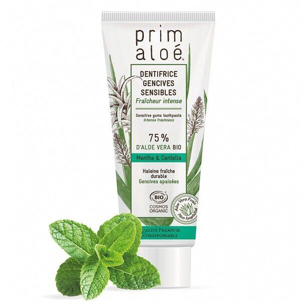 Prim aloé Dentifrice Bio Menthe Gencives Sensibles 75ml – 75% Aloe Vera