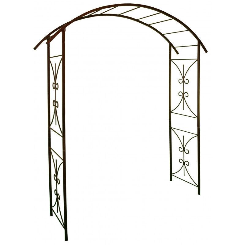 Arche de jardin double volute en acier fer vieilli