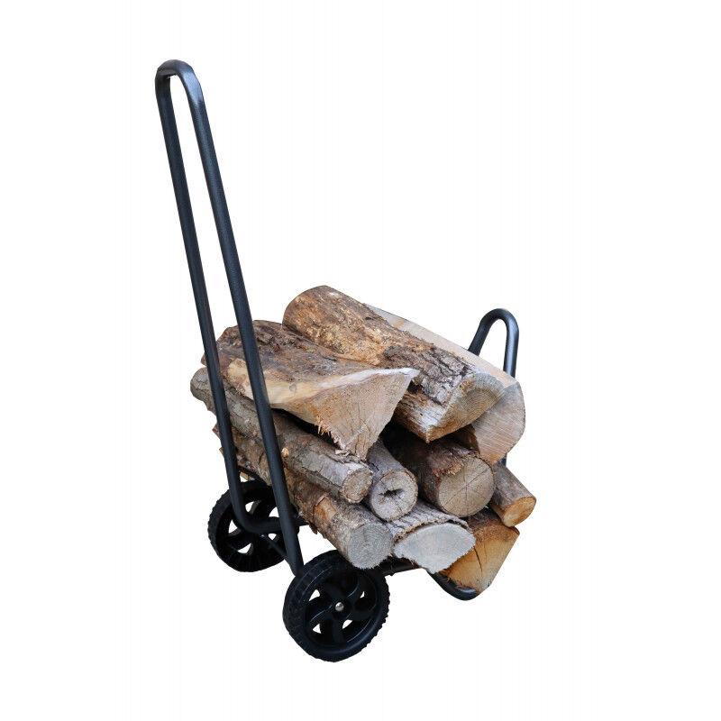 Chariot porte bûche en acier gris et à 2 roues