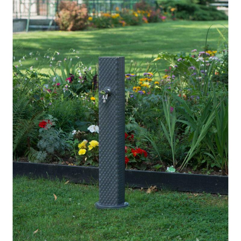 Fontaine borne de jardin en fonte Pixel gris
