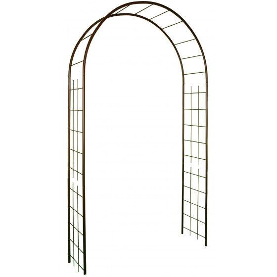 Louis Moulin Arche de jardin double treillage en acier fer vieilli