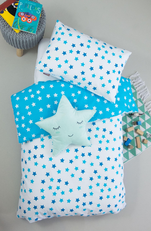 Kadolis Housse de couette bébé en coton bio à motifs étoiles + taie d'oreiller