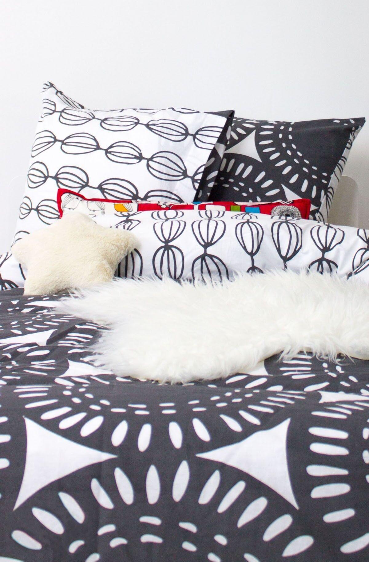 Kadolis Housse de couette enfant en coton bio Rosaces noir et blanc + t ... -140 x 200 cm
