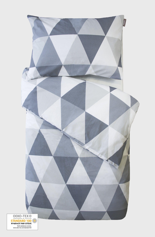 Kadolis Housse de couette Bébé en coton bio motifs Triangles + Taie d'oreil ... -100 x 140 cm