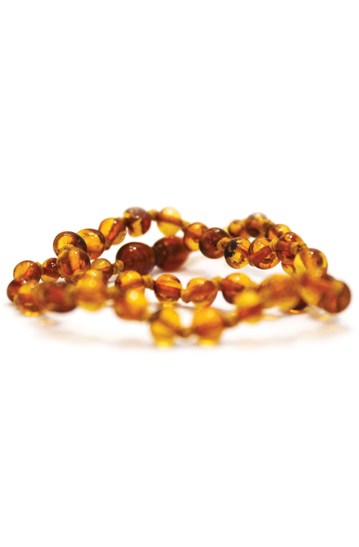 Kadolis Collier d'ambre bébé perles rondes miel avec fermoir sécurité