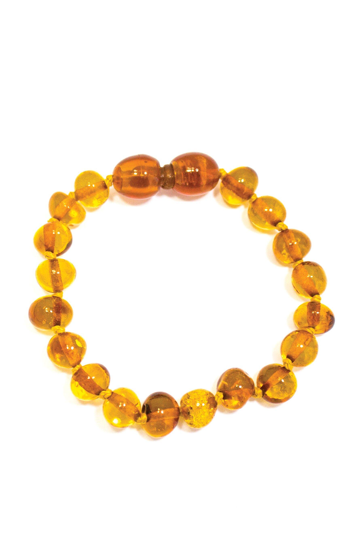 Kadolis Bracelet d'ambre bébé perles rondes miel avec fermoir sécurité