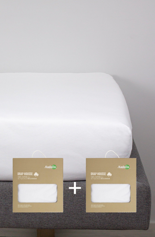 Drap housse COTON BIO pour lit bébé (lot de 2)