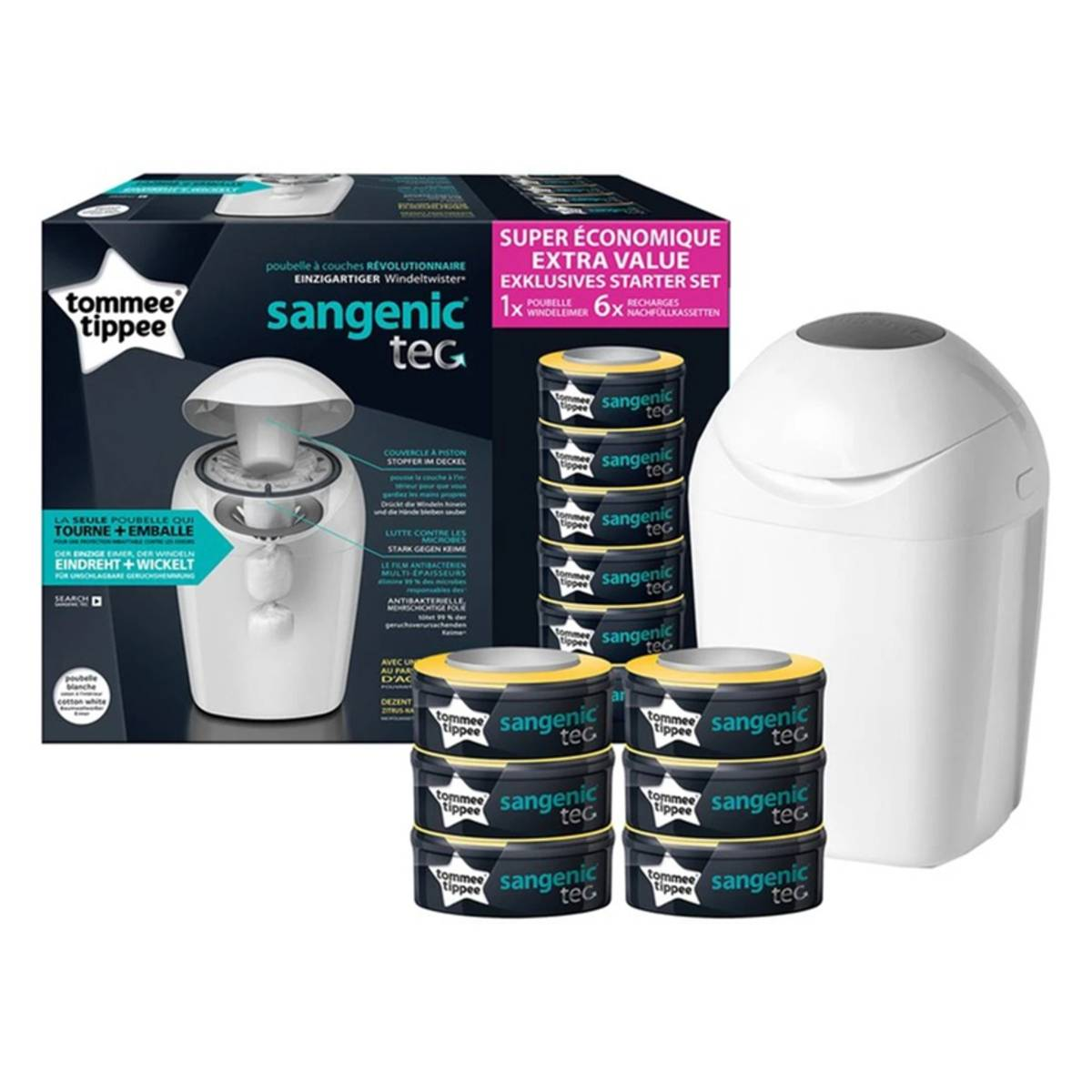 Tommee Tippee Starter Pack Poubelle à Couches Sangenic Tec + 6 Recharges