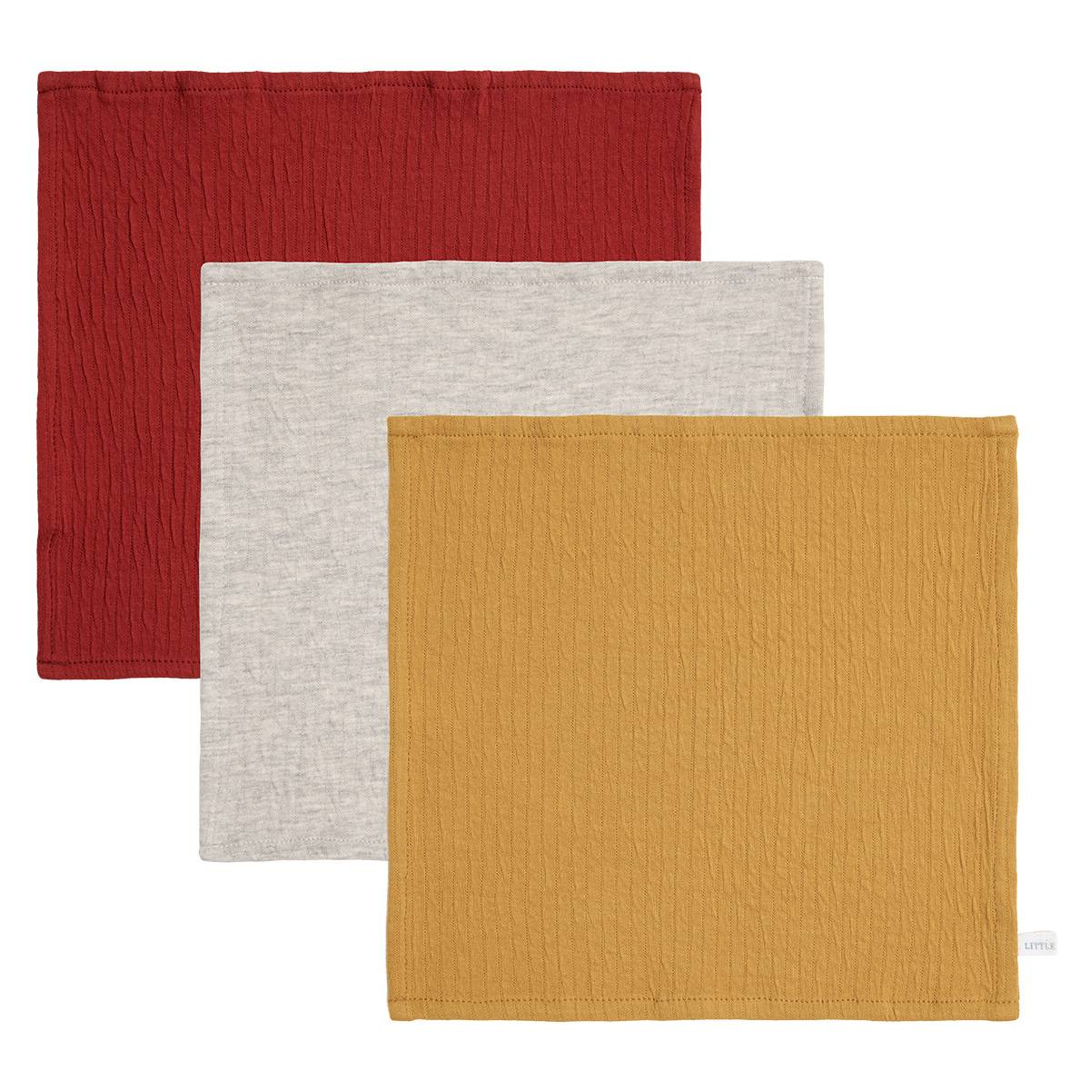 Little Dutch Lot de 3 Lingettes Pure - Indian Red, Grey & Ochre