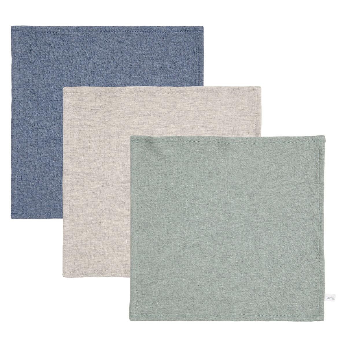Little Dutch Lot de 3 Lingettes Pure - Blue, Grey & Mint